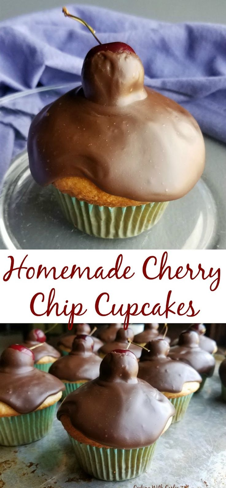 A simple homemade cake batter is full of fresh cherries and chocolate chips. These cupcakes are really easy to make and so much fun to serve!