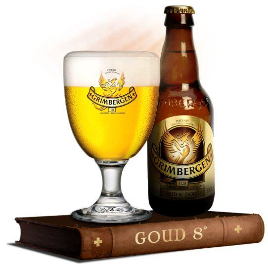 GRIMBERGEN GOUD / Dit is een sterk blond bier, vol karakter met hergisting op de fles en toch zeer toegankelijk.  Smaak: Het traditionele Grimbergenrecept is bij Grimbergen Goud verrijkt door het gebruik van aromatische hop, wat het bier zijn verfijnde bitterheid en hoppig karakter geeft. Een prachtig resultaat voor al wie een sterk blond bier kan waarderen. (Alc. 8% vol.)