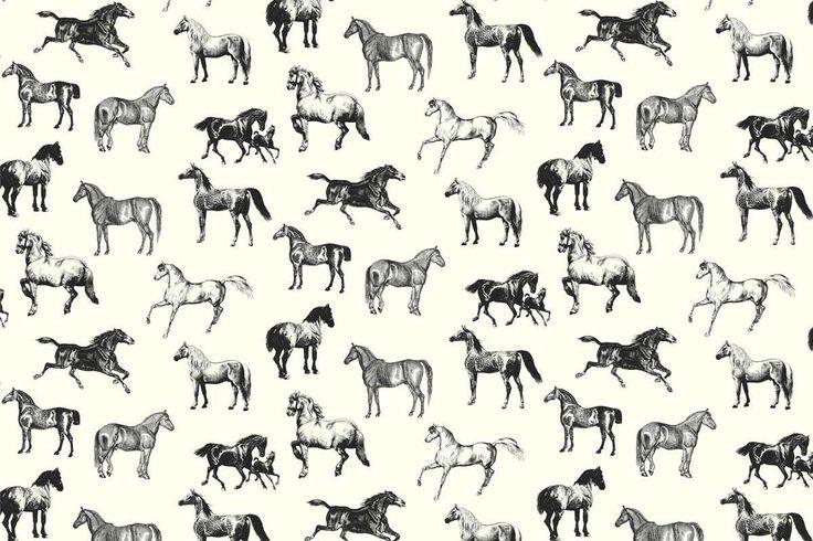 papel pintado con caballos color negro, telas & papel