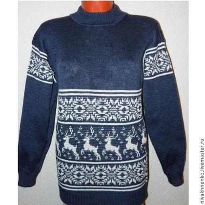 Кофты и свитера ручной работы. Ярмарка Мастеров - ручная работа. Купить Вязаный свитер с оленями (синий джинс). Handmade.