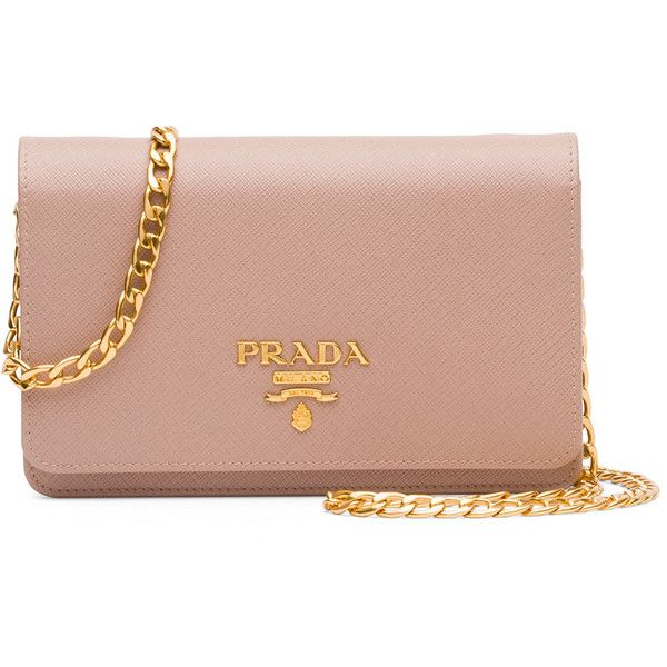 Prada Saffiano Lux Crossbody Bag ($1,270) ❤ liked on Polyvore featuring bags, handbags, shoulder bags, clutches, purses, blush, hand bags, purse shoulder bag, prada shoulder bag and prada purses