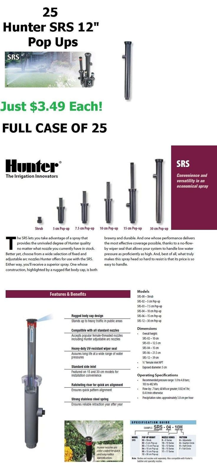Hose Nozzles and Wands 181015: Hunter Srs-12 12 Pop-Up Spray Head 12 Inch Sprinkler (25) -> BUY IT NOW ONLY: $87.24 on eBay!