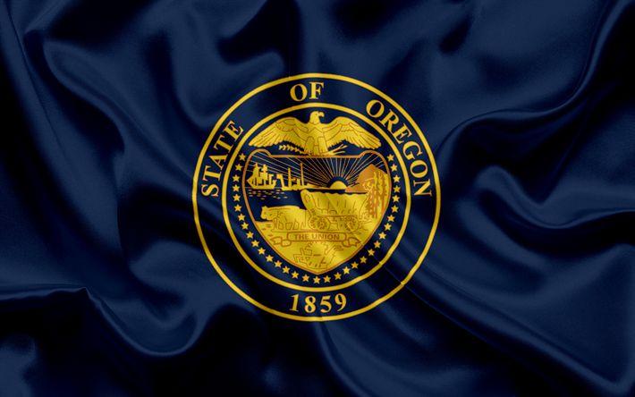 Descargar fondos de pantalla Del Estado de Oregon de la Bandera, banderas de los Estados, de la bandera del Estado de Oregon, EEUU, estado de Oregon, de seda azul de la bandera, Oregon escudo de armas