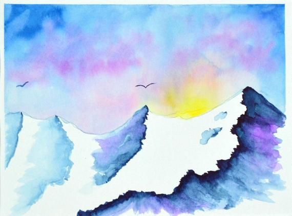 Snowy Mountain Sunrise Watercolor Painting Sunset Mountain