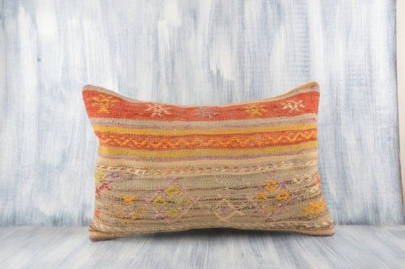 Bohemian Kilim Lumbar Accent Tribal Pillow Cover Aztec Sham Cover 16x24 Kilim Pillow Cover Sofa Cushion Cover Decorative Throw Pillow