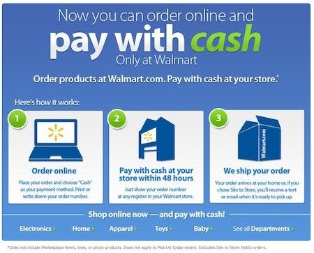 WalMart's Cash payment for on line shopping. Did they just get the buyer to a store with that one?