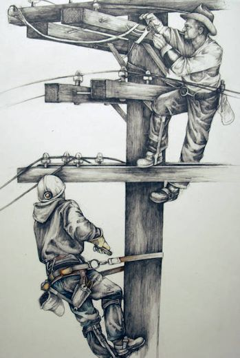 Like Father...Like Son - Power Lineman art print. $55 INCLUDE SHIPPING.