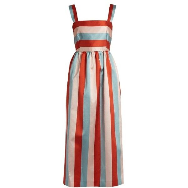 REDValentino Striped midi dress (20.790 RUB) found on Polyvore featuring women's fashion, dresses, pink multi, square neck midi dress, square neck dress, pink stripe dress, calf length dresses and shirred dress