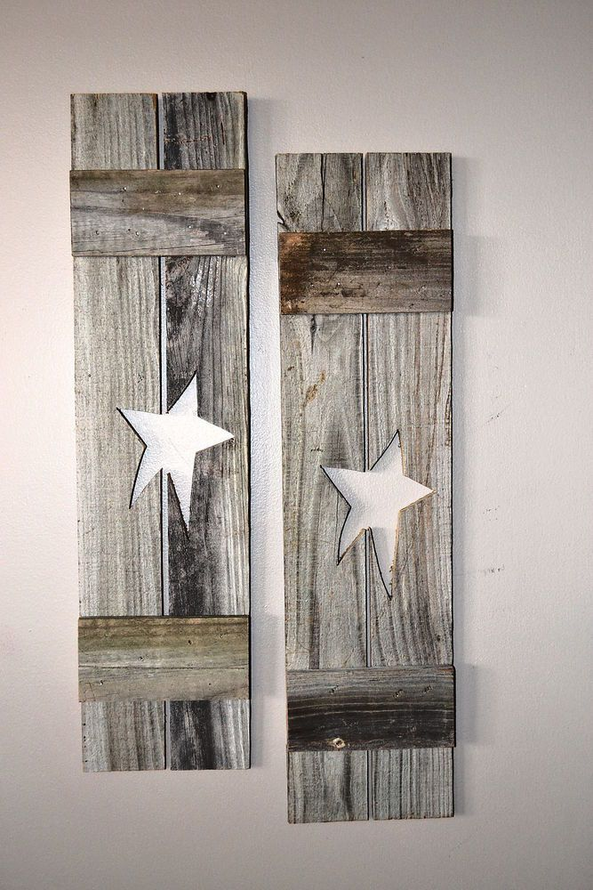 Primitive style mini decorative wooden window shutters old for Country shutters