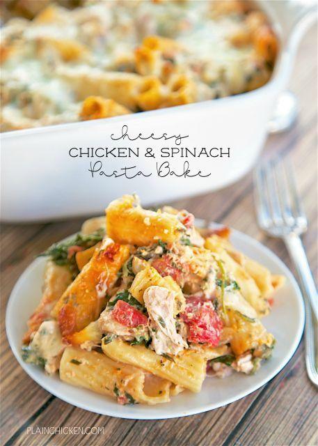 Cheesy Chicken and Spinach Pasta BakeReally nice recipes. Every  Mein Blog: Alles rund um die Themen Genuss & Geschmack  Kochen Backen Braten Vorspeisen Hauptgerichte und Desserts # Hashtag