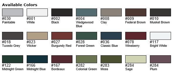 Mid America Shutter Colors Exterior Color Selections