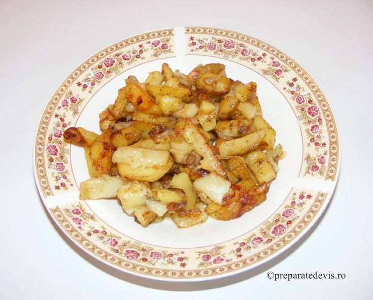 Cartofi prajiti cu ceapa si usturoi de post