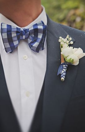 white ,  blue ,  boutonnieres ,  whimsical, bright ,  rose ,  whimsical, bright ,  Bow Tie ,  plaid