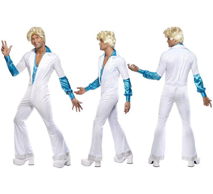 Disfraz disco supertrouper blanco azul para hombre for Disfraces de los anos 60