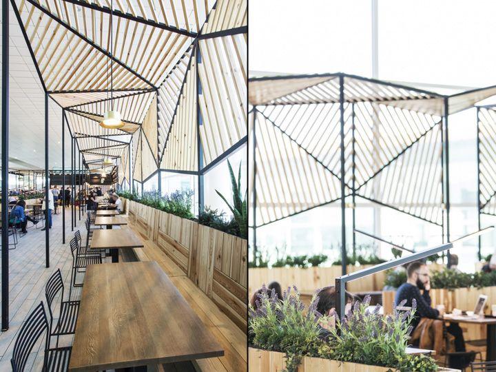Restaurante Dehesa Santa María en T1 del aeropuerto de Barcelona, diseño de Dear Design