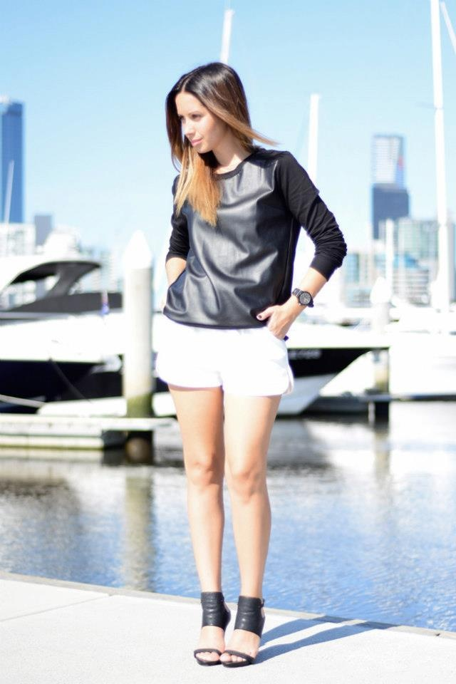 Jasmin from Friend in Fashion wearing #monochrome in STYLESTALKER 'Future Echoes' Top, available now at THE ICONIC.