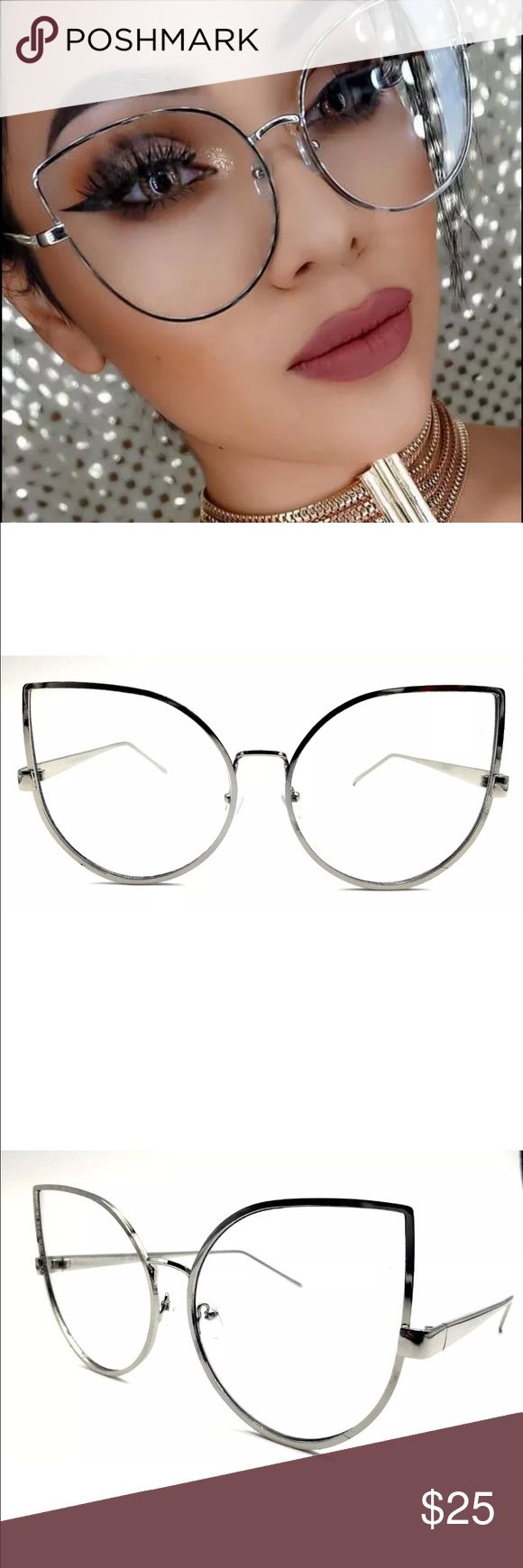 New✨ Oversized Cat Eye Clear SILVER Glasses 😍✨ 🚫NO- Offers‼️ PRICE IS FIRM❗️  New Fashion Trend- super cute Oversized Black Frame Clear Glasses 😍✨  ✨Fashion Accessory  🔸Brand New✨ 🔸PRICE IS FIRM- already listed at lowest price  🔸If you want to save please look into bundling  🔸In Stock 🔸No Trades 🔸Will ship same day as long as order is received by 1:00pm PST  🔺Serious Inquiries Only❣️  🔹Bundle one or more items from my boutique to only pay one shipping fee and SAVE Money❣️…