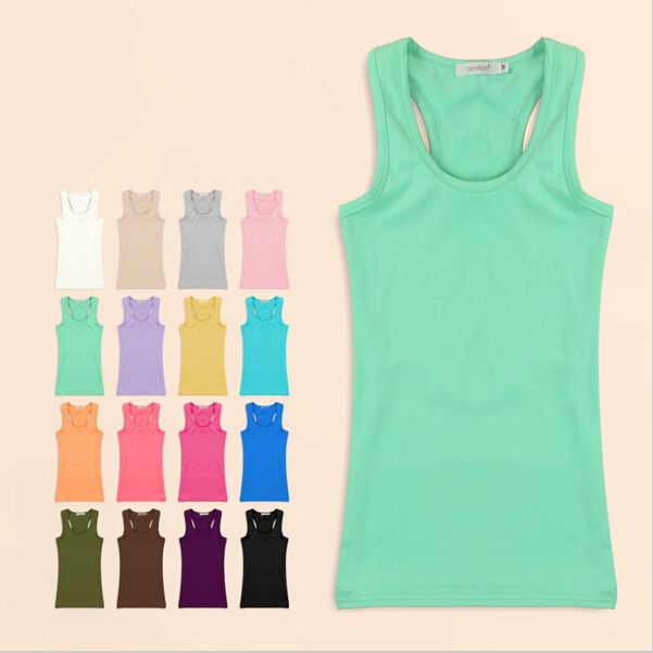 Women Tank Top 2015 Summer Solid Women's Tanks Camisole Sport Fitness Women Tops Vest Tank Shirt Basic Casual Blouse Camis