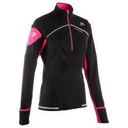 T-shirt Running, Trail, Athlétisme - MAILLOT KIPRUN WARM NOIR ROSE KALENJI - Vêtements running