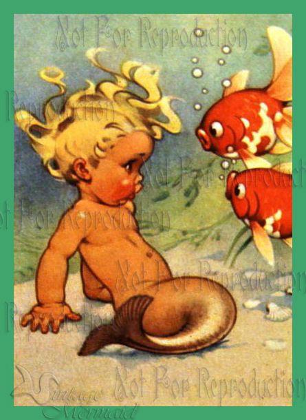 MB5 Vintage Mermaid Merbaby Merboy Postcard Print Fabric Block Quilting 5 x 7 | eBay