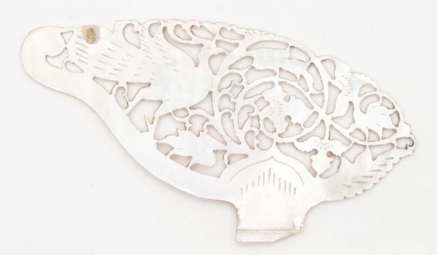 Leaf shaped openwork with floral decoration and a peacock   Horniman Museum and Gardens   CC0