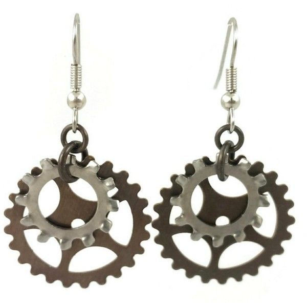 Surgical Steel and Brass Dangle Earrings Steampunk Gears Industrial... ($22) ❤ liked on Polyvore featuring jewelry, earrings, steampunk jewellery, goth earrings, gothic earrings, steampunk earrings and steampunk jewelry