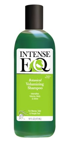 Intense EQ Botanical Volumizing Shampoo - Intensifies volume, body, and shine. Makes every strand perfect, thick, luxurious, soft, and shiny. Perfect for manes, tails, and people too! Moisturizing botanical extracts: Aloe, Arnica Montana, Horsetail, Echinacea, and Rosemary blended into the ultimate shampoo. Paraben Free. pH balanced for optimum results.