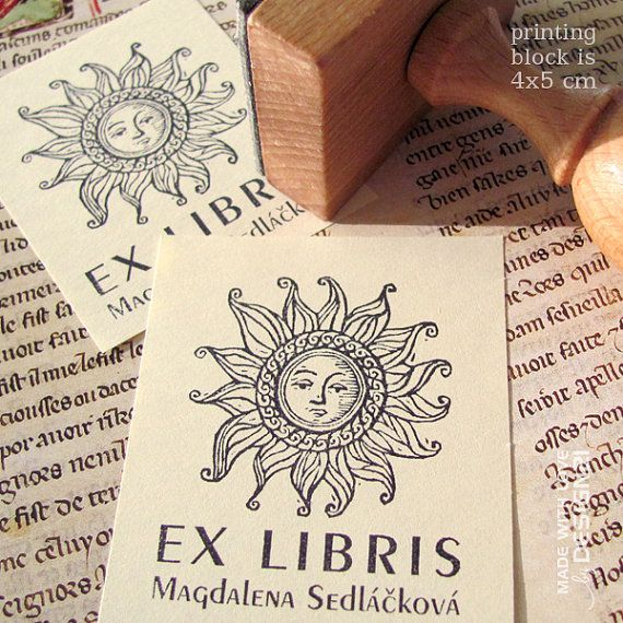 Sun: personalised rubber stamp 4x5 cm by lida21 on Etsy