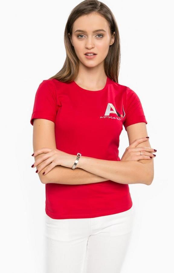Красная хлопковая футболка с принтом 3Y5T41 5JABZ 1468 , купить в интернет-магазине. Цена: 5690