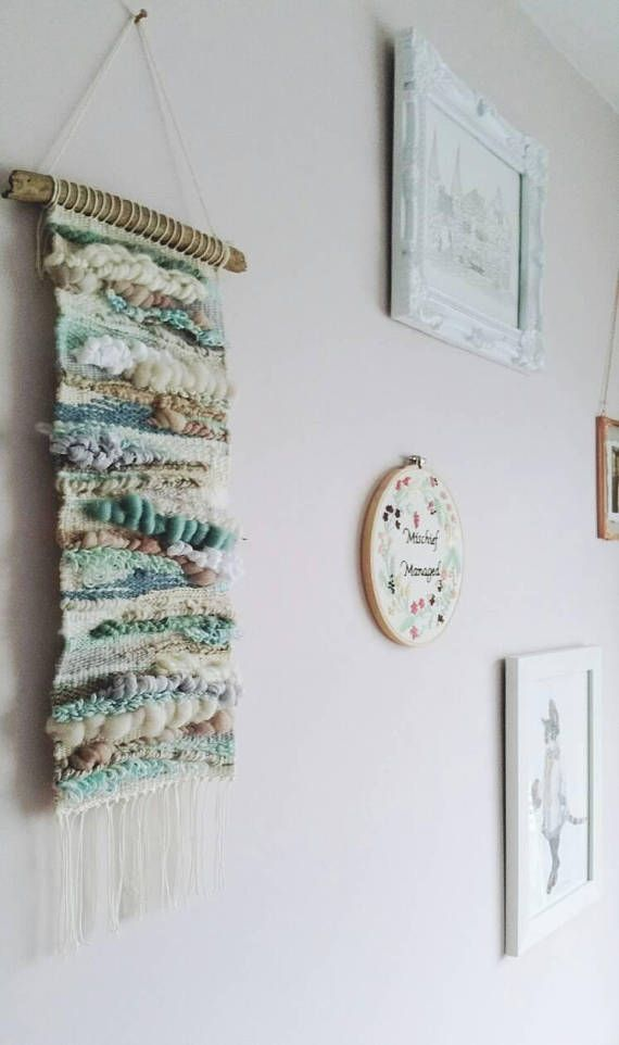 This dreamy piece is inspired by the coast, the peacefulness of ocean tones and the natural beauty of the yarns and materials selected and made for the project. By Wallflower Weavings