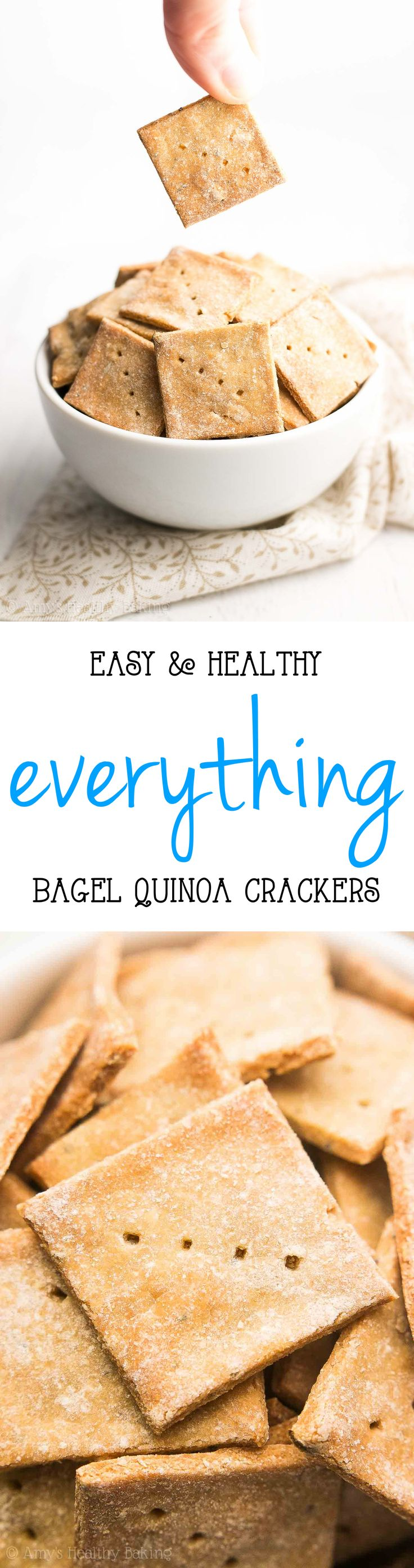Healthy Everything Bagel Quinoa Crackers -- crunchy, irresistible & SO easy to make! My all-time FAVORITE crackers! They're so much better than anything store-bought!!