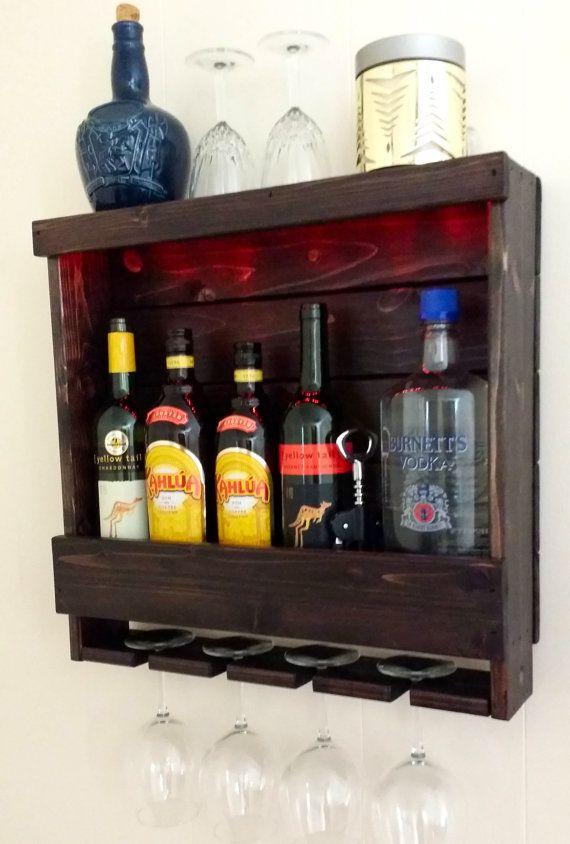 on sale capacity of 200 lbs cleat mount small lighted rustic liquor rack rustic wine rack. Black Bedroom Furniture Sets. Home Design Ideas