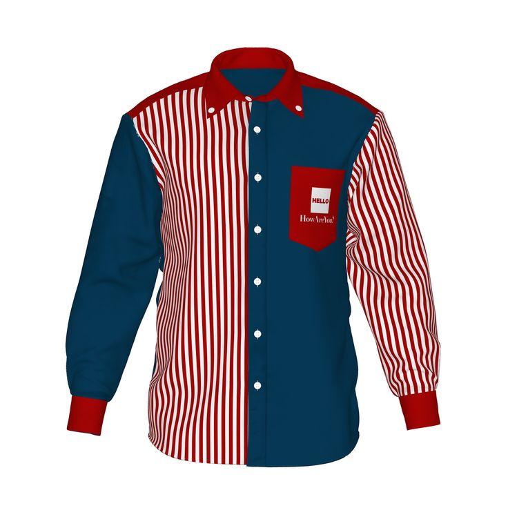 ●アメリカンな雰囲気のネイビーと白赤ストライプ。●カラーの存在感が際立つ、ストライプ柄と組み合わせたアシンメトリーデザイン。●メンズ・レディース問わず着用していただけるデザイン。■「Hello」は『制服でも、ユニフォームでも、タウンファッションでも。演出シーンはあなた次第。』がコンセプト。■襟・袖・ポケットにアクセントカラーを使用した「HELLO」の「Accent」シリーズ。/HELLO Accent03 NVY - 紺×赤ストライプ - HELLO