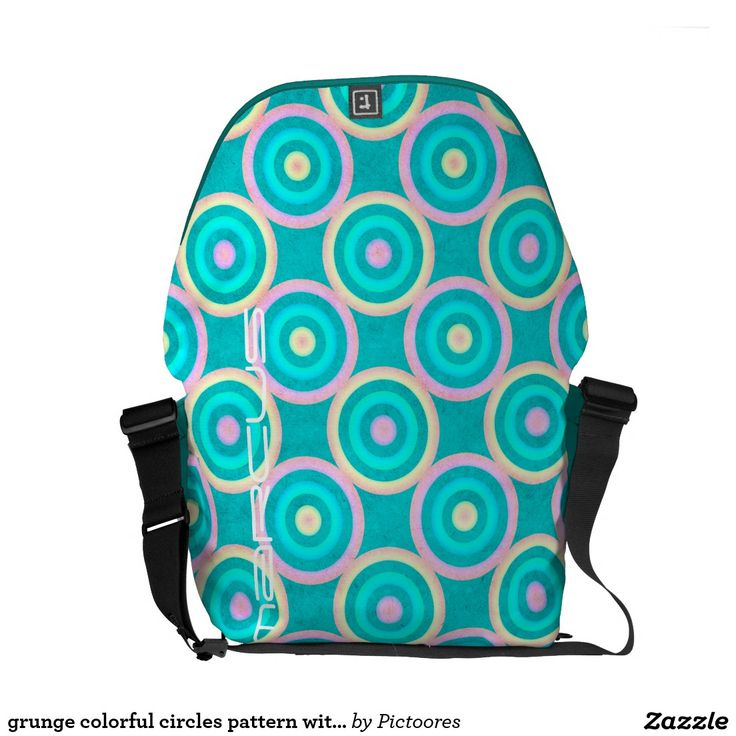 grunge colourful circles pattern with text commuter bag
