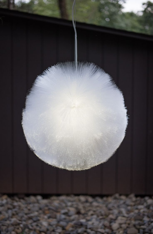 luma pendant by siwoff+ park is a fuzzy fiber optic light ball