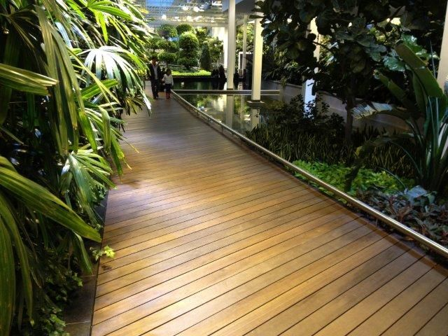 Located at 8 Avenue and 2 Street SW Calgary, Alberta. The new Devonian Gardens features the Red Balau Batu Exotic Hardwood. Supplied by Kayu Canada Inc.