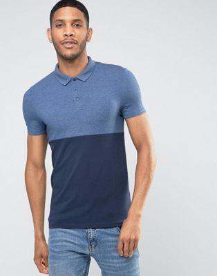 ASOS Muscle Half And Half Polo Shirt In Denim Marl/Navy
