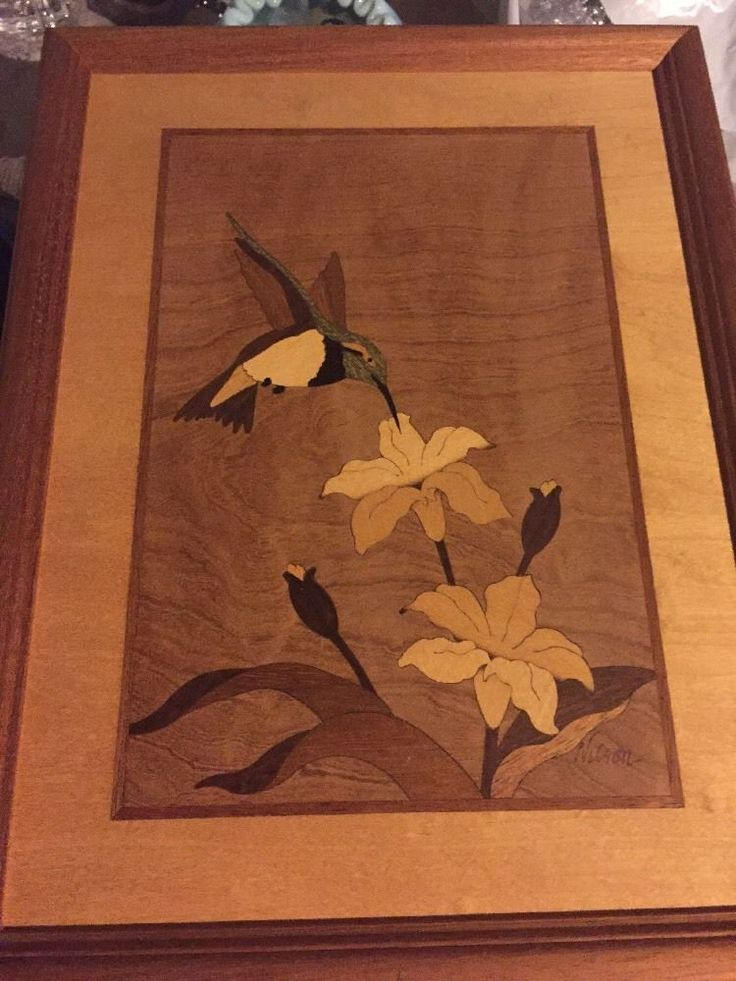 Original Hudson River Wood Inlay Marquetry Hummingbird Signed Nelson Ebay Wood Inlay New