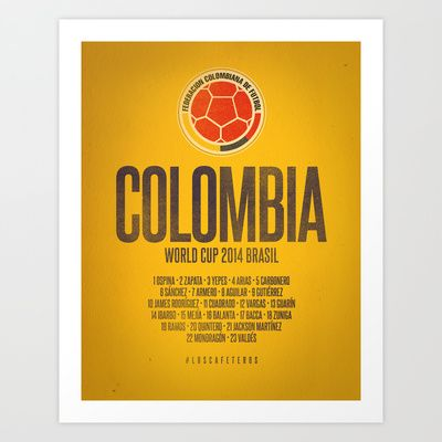 Colombia World Cup 2014 Celebrative Artwork Art Print by The Soccer Supply
