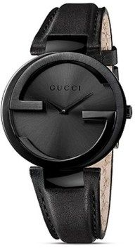 This stunning women's watch from Gucci features a black stainless steel case with a coordinating black calfskin leather strap. The black sun-brushed dial is home to tapered black hands and a Gucci log