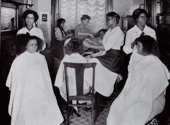 antique african american books   African American beauty parlor. Vintage postcard by Photomatika