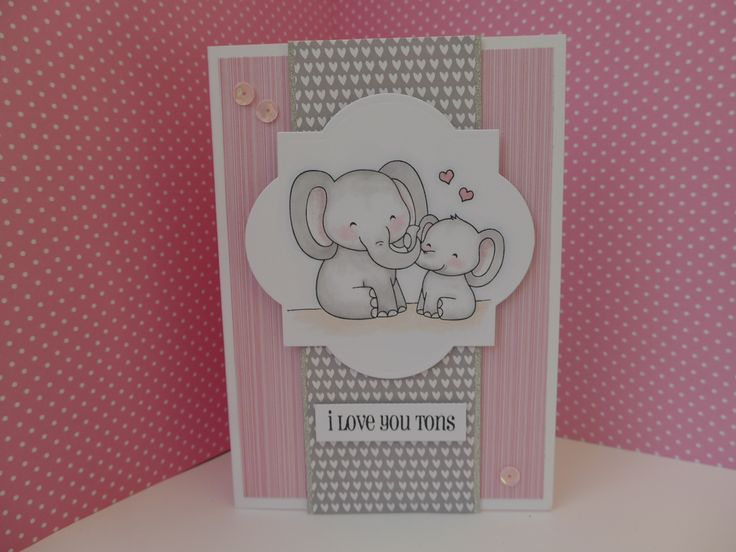 Card made using Clearly Besotted Love you Tons stamps.