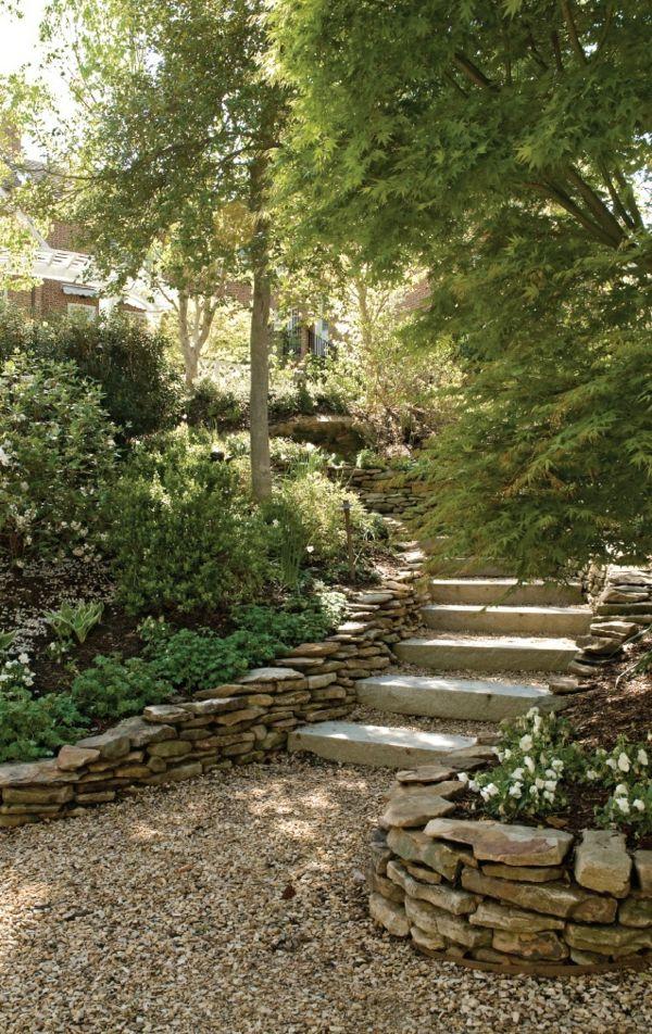 escalier,gravier pour allée,arbres,jardin vert, revetement de sol en cailloux