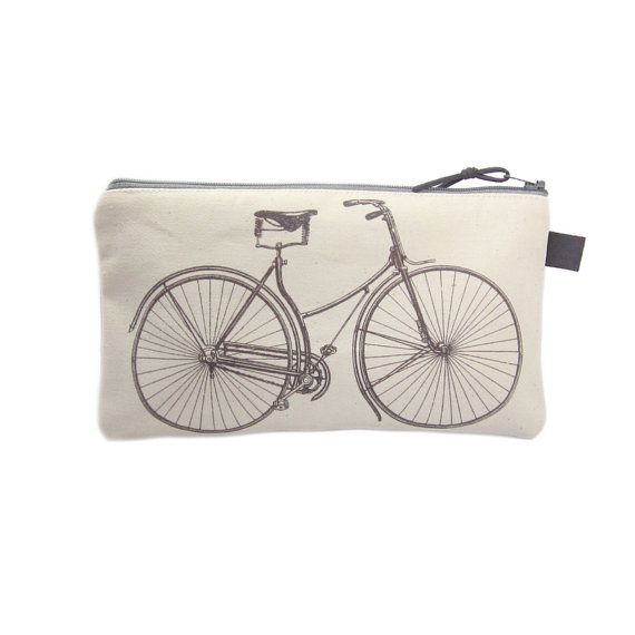 Bicycle Pencil Case Pencil Bag Canvas Zip by modernandvintage