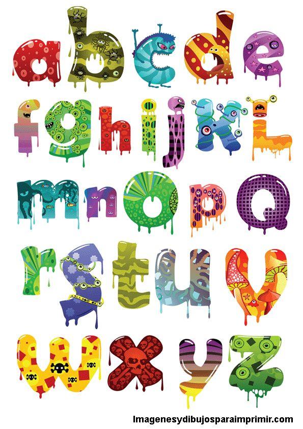 Abecedario con letras monstruosas para imprimir-Imagenes y dibujos para imprimir