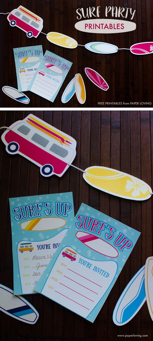 Surf party printable invitations, surf boards, and vans   www.paperloving.com
