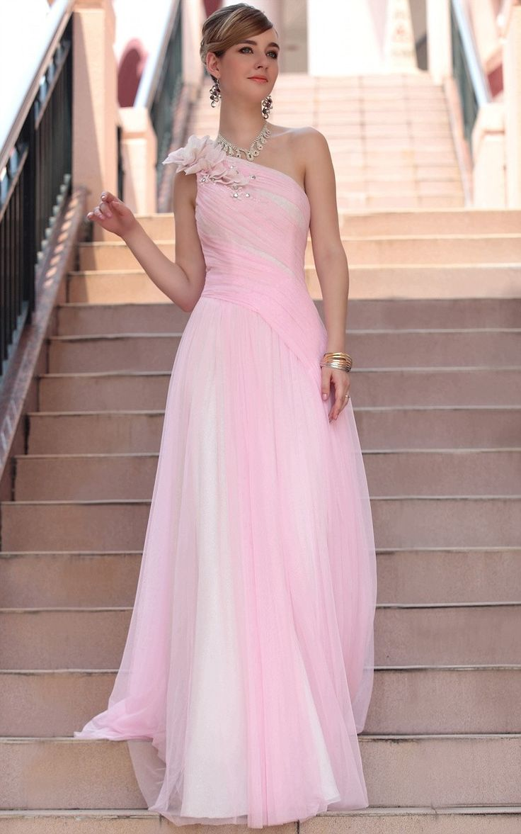 One shoulder Pink cocktail dress