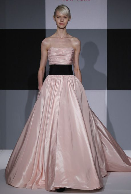 Brides.com: . Strapless pink taffeta A-line wedding dress with a ruched bodice and banded waist, Isaac Mizrahi for Kleinfeld  See more Isaac Mizrahi for Kleinfeld wedding dresses in our gallery.