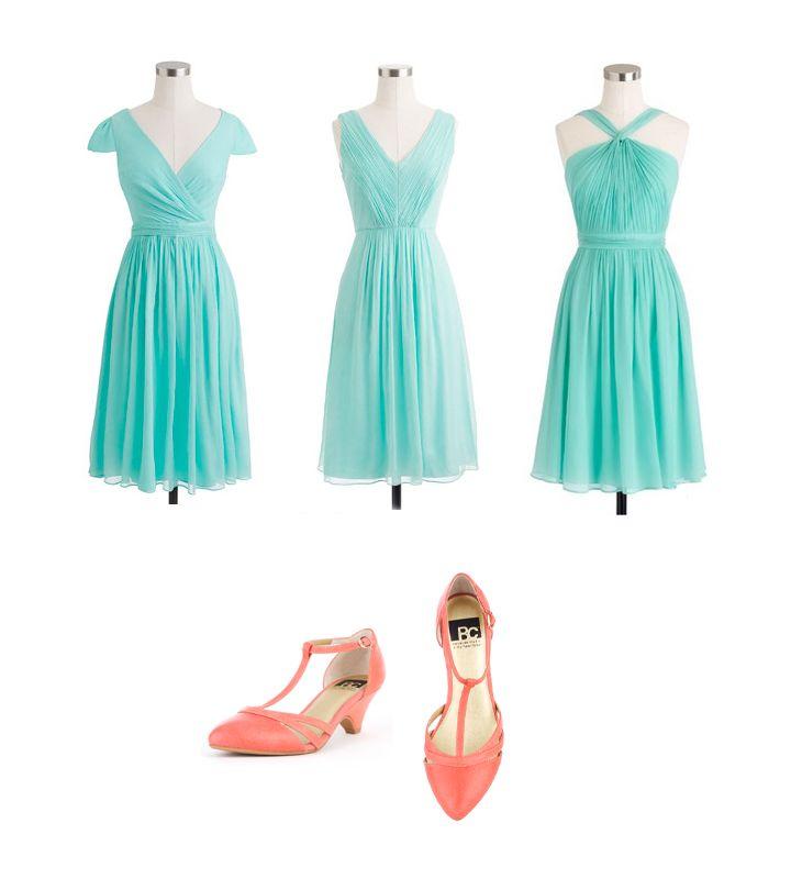 Sunwashed Aqua J Crew bridesmaids dresses with coral BC shoes
