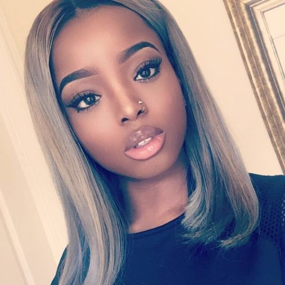 Blonde Wigs African American Bobs Medium Length For Black -3419
